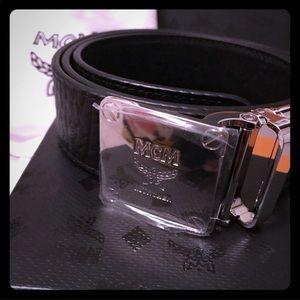 NWB MCM Men Black Silver Buckle Belt Brand New